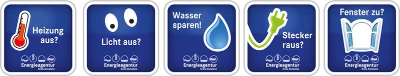 Energiespar-Aufkleber mit Tipps