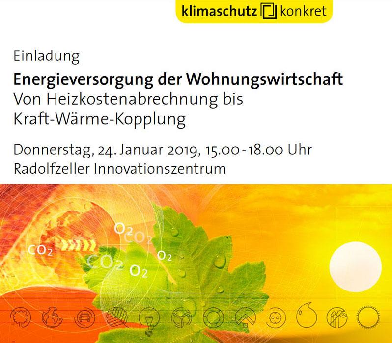 """Klimaschutz Konkret Flyer für Veranstaltung """"Energieversorgung der Wohnungswirtschaft"""""""